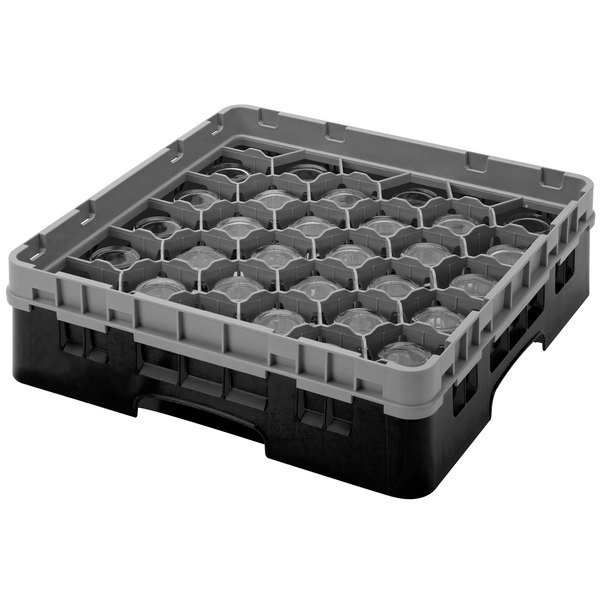 "Cambro 30S800110 Black Camrack Customizable 30 Compartment 8 1/2"" Glass Rack"