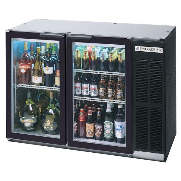 "Beverage Air BB48GY-1-BK-LED-WINE 48"" Black Back Bar Wine Series Refrigerator - Narrow Depth, 2 Glass Doors"