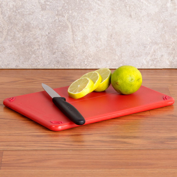 "San Jamar CBG6938RD Red Saf-T-Grip 6"" x 9"" x 3/8"" Non-Slip Grip Cutting Board - Bar Size"