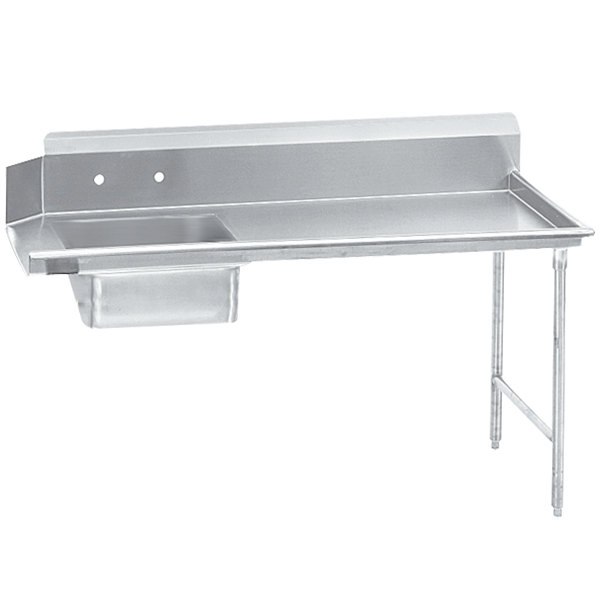 Right Table Advance Tabco DTS-S70-96 8' Standard Stainless Steel Soil Straight Dishtable