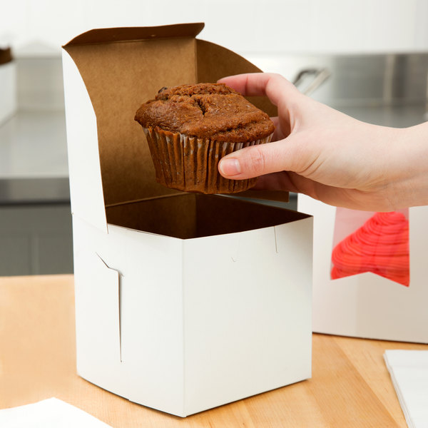 "4 1/2"" x 4 1/2"" x 4 1/2"" White Cupcake / Bakery Box - 10/Pack"