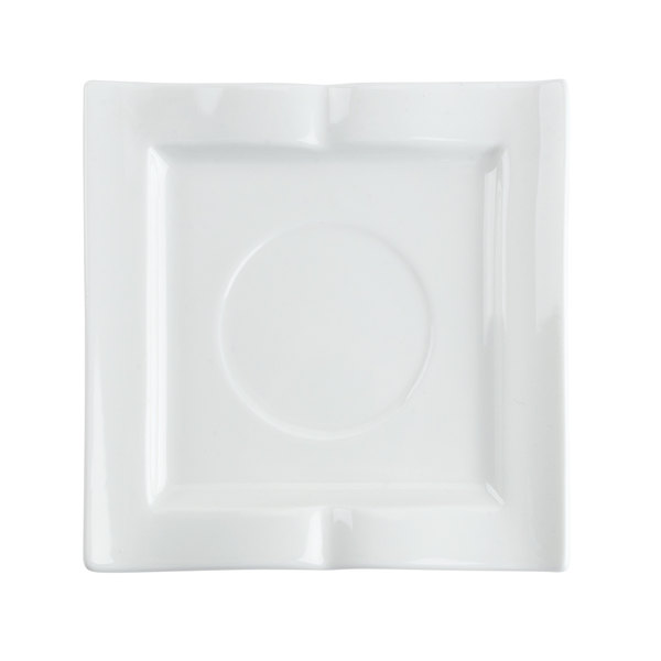 """CAC GBK-2 Goldbook Bone White Book-Shaped China Square Saucer 5 1/2"""" - 36/Case"""
