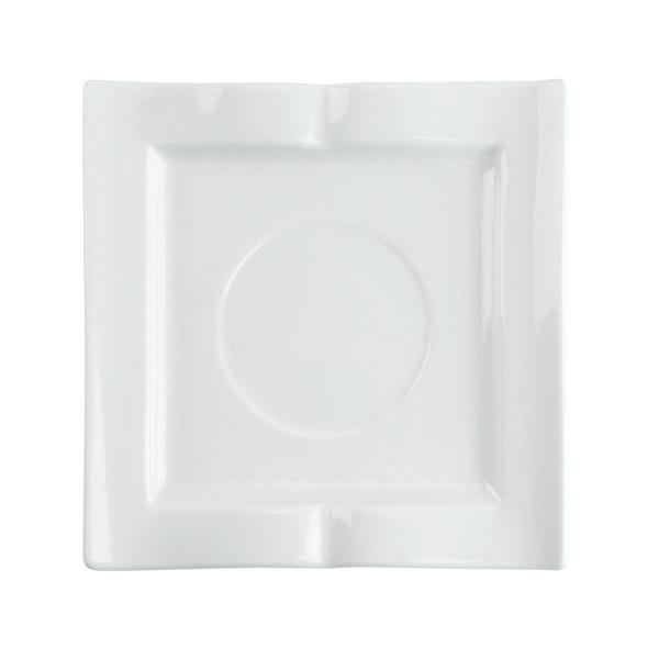 "CAC GBK-2 Goldbook Bone White Book-Shaped China Square Saucer 5 1/2"" - 36/Case Main Image 1"