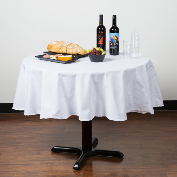 """64"""" White Round Hemmed Poly Cotton Tablecloth"""