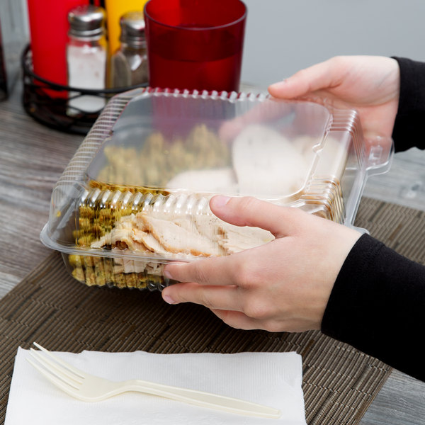 """Durable Packaging PXT-900 9"""" x 9"""" x 3"""" Clear Hinged Lid Plastic Container - 100/Pack"""