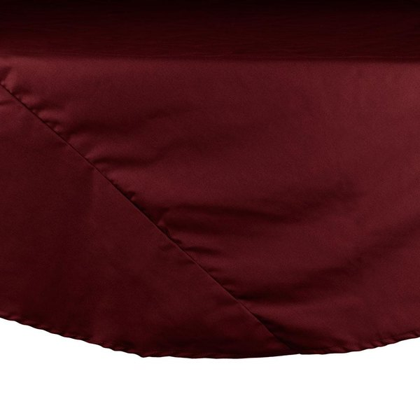 "132"" Burgundy Round Hemmed Polyspun Cloth Table Cover"