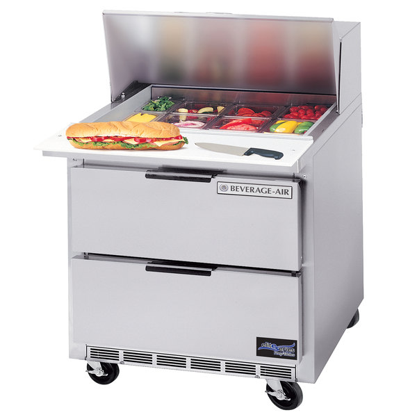 "Beverage Air SPED36-08C 36"" 2 Drawer Cutting Top Refrigerated Sandwich Prep Table with 17"" Wide Cutting Board"