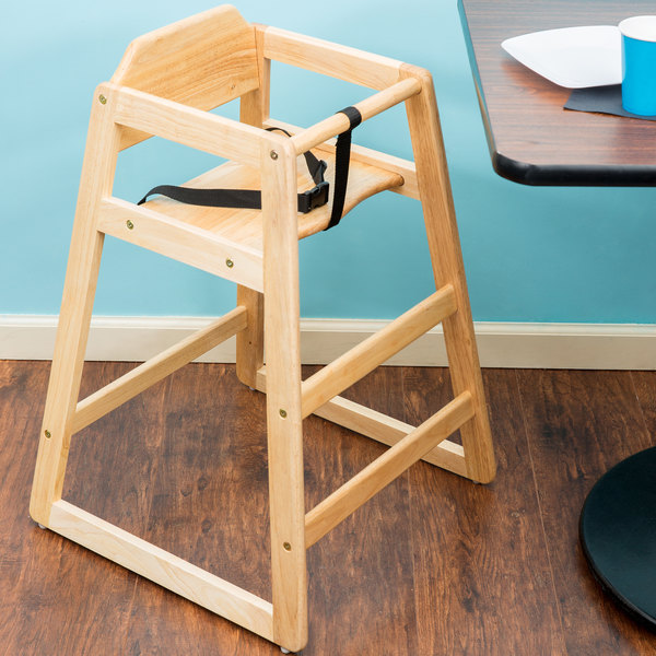 """29 1/4"""" Stacking Restaurant Wood High Chair with Natural Finish - Assembled"""
