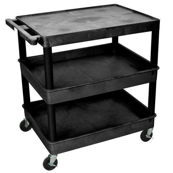 Luxor TC211-B Black Three Shelf Utility Cart Main Image 1