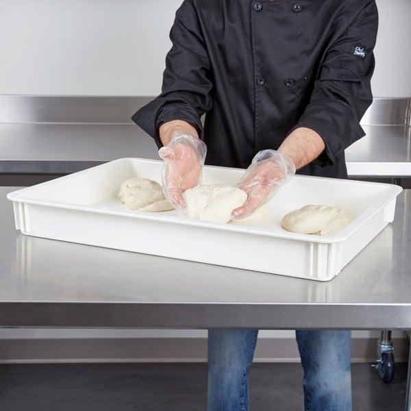 "Cambro DB18263CW148 Camwear 18"" x 26"" x 3"" White Polycarbonate Pizza Dough Proofing Box"