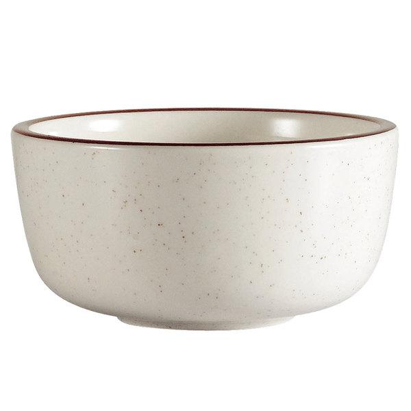10 oz. Brown Speckle Narrow Rim China Jung Bowl - 36/Case