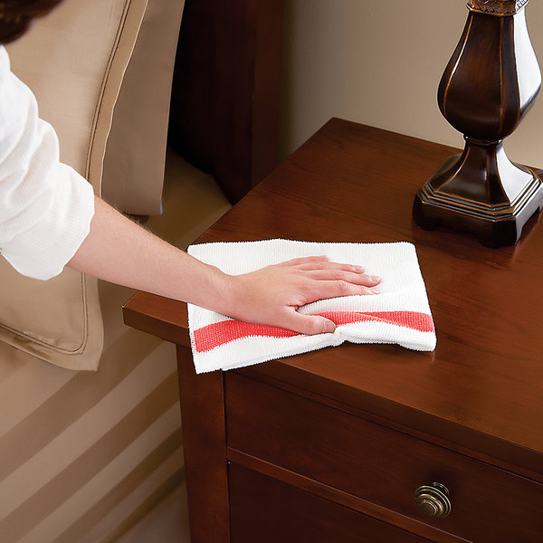 "Rubbermaid 1805727 HYGEN Sanitizer Safe 16"" x 19"" White Microfiber Cloth with Red Stripe - 24/Pack"