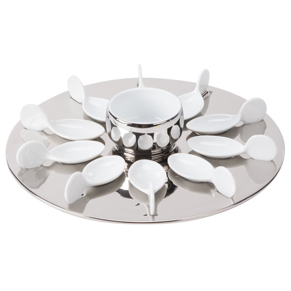 """CAC PTP-21-SL Bright White Party Collection Porcelain 10 Spoon Set with 12 1/4"""" Silver Tray and 7 oz. Bowl - 4/Case"""