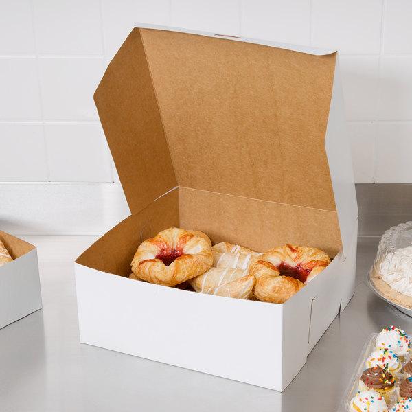 "Southern Champion 987 12"" x 12"" x 5"" White Cake / Bakery Box - 10/Pack"