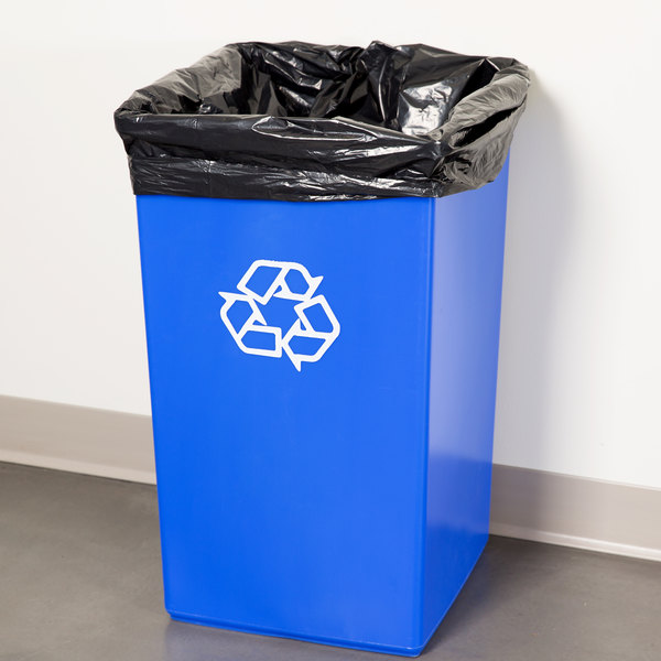 Continental 25-1 SwingLine 25 Gallon Blue Square Recycling Container