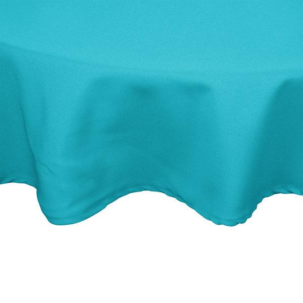 "54"" Teal Round Hemmed Polyspun Cloth Table Cover"
