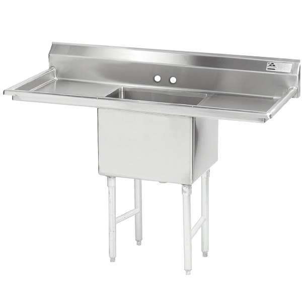 """Advance Tabco FS-1-1824-18RL Spec Line Fabricated One Compartment Pot Sink with Two Drainboards - 54"""""""