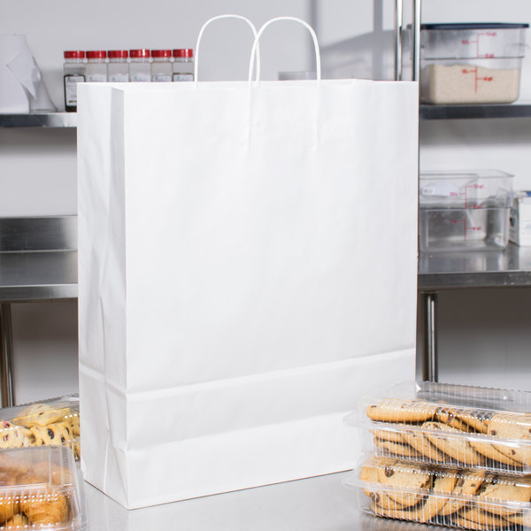 "Duro Towner White Paper Shopping Bag with Handles 16"" x 6"" x 19"" - 200/Bundle"