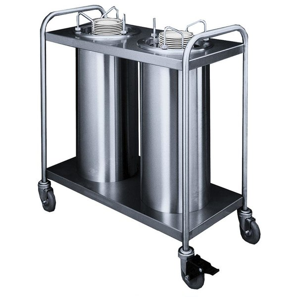 """APW Wyott Lowerator TL2-12A Trendline Mobile Adjustable Unheated Two Tube Dish Dispenser for 9 1/4"""" to 11 7/8"""" Dishes"""