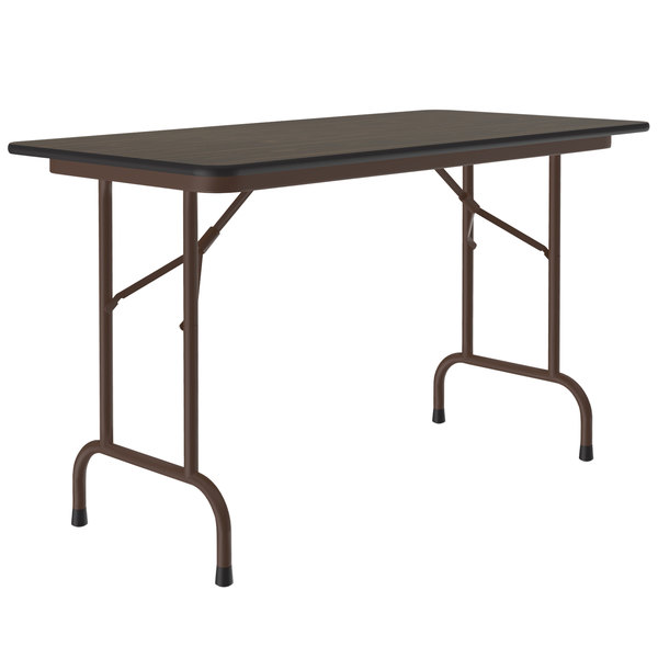 "Correll Folding Table, 24"" x 48"" Melamine Top, Walnut - CF2448M Main Image 1"