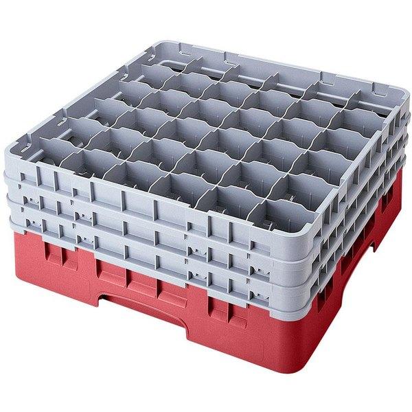 "Cambro 36S800416 Cranberry Camrack Customizable 36 Compartment 8 1/2"" Glass Rack"
