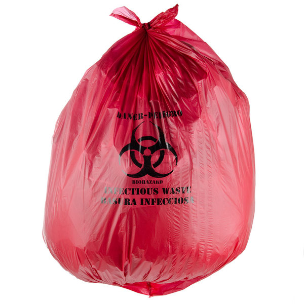 """44 Gallon 37"""" X 50"""" Red Infectious Waste High Density Isolation Medical Waste Bag / Biohazard Bag 17 Microns - 200/Case"""
