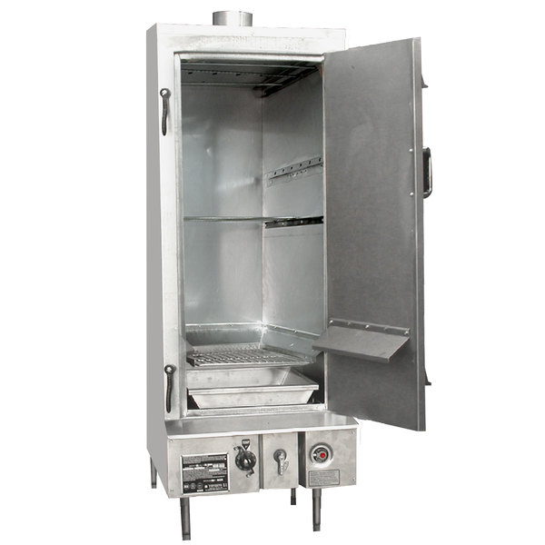 "Town SM-24-R-SS Liquid Propane Indoor 24"" Stainless Steel Smokehouse with Right Door Hinges - 45,000 BTU"