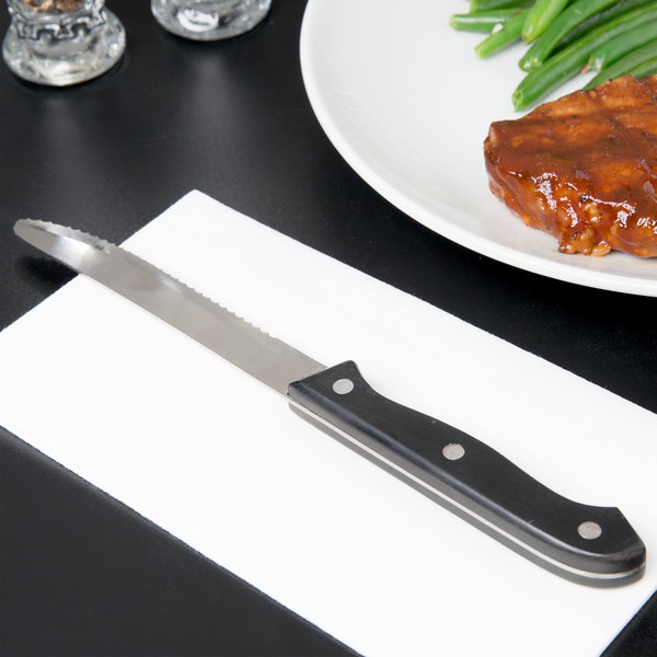 """4 3/4"""" Jumbo Stainless Steel Steak Knife with Riveted Handle - 12/Case"""