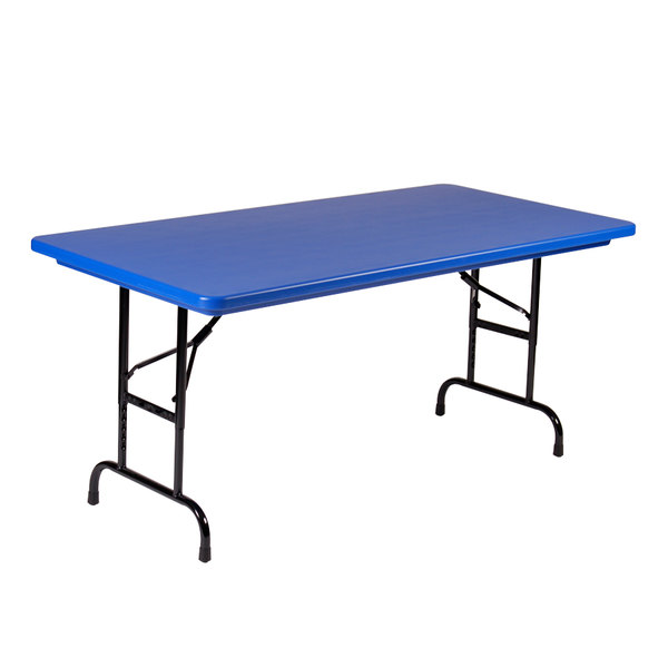 "Correll R-Series R2448 24"" x 48"" Blue Plastic Folding Table"