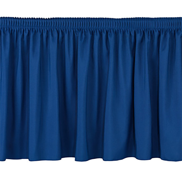"""National Public Seating SS16-96 Navy Shirred Stage Skirt for 96"""" Stage - 15"""" x 96"""""""
