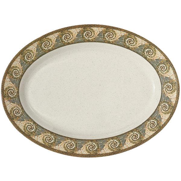 "GET OP-630-MO 30"" x 20 1/4"" Mosaic Oval Platter - 6/Pack Main Image 1"
