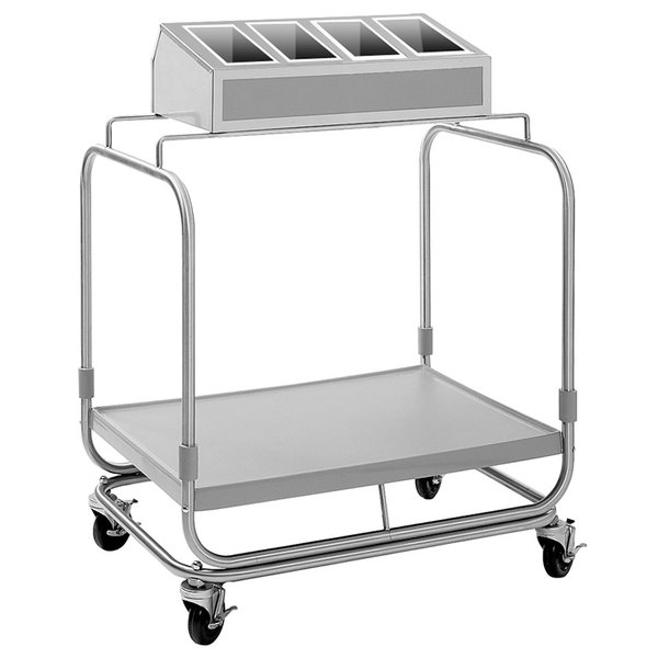 Delfield UTSP-1SS Tray and Silverware Cart with 4 Silverware Pans and Stainless Steel Tray Shelf Main Image 1