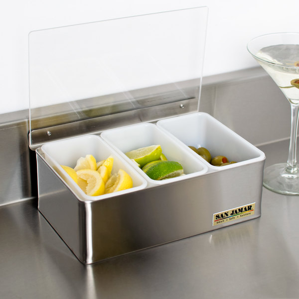San Jamar B4093L 3-Compartment Stainless Steel Condiment Bar Main Image 5
