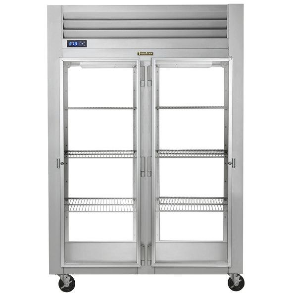 Traulsen G21016P 2 Section Glass Door Pass-Through Refrigerator - Right / Left Hinged Doors Main Image 1