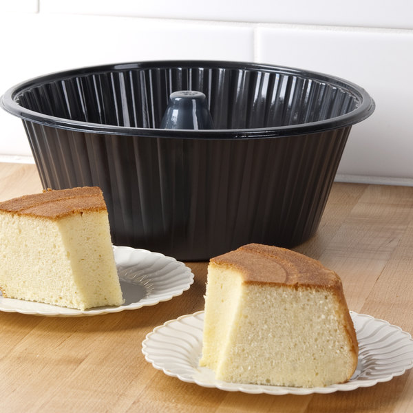 "10"" Genpak 55A10 Bake N' Show Angel Food Cake Pan with Lid - 10/Pack Main Image 6"