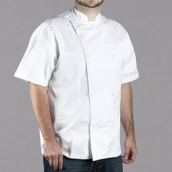 Chef Revival Silver J005-L Knife and Steel Size 46 (L) White Customizable Short Sleeve Chef Jacket - Poly-Cotton Blend