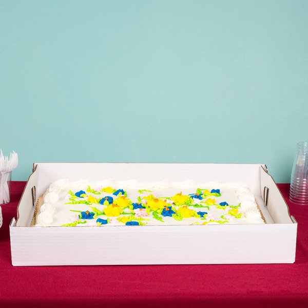 "Baker's Mark 25 7/8"" x 18 1/16"" x 4"" White Full Sheet Corrugated Cake / Bakery Box Bottom - 25/Bundle"