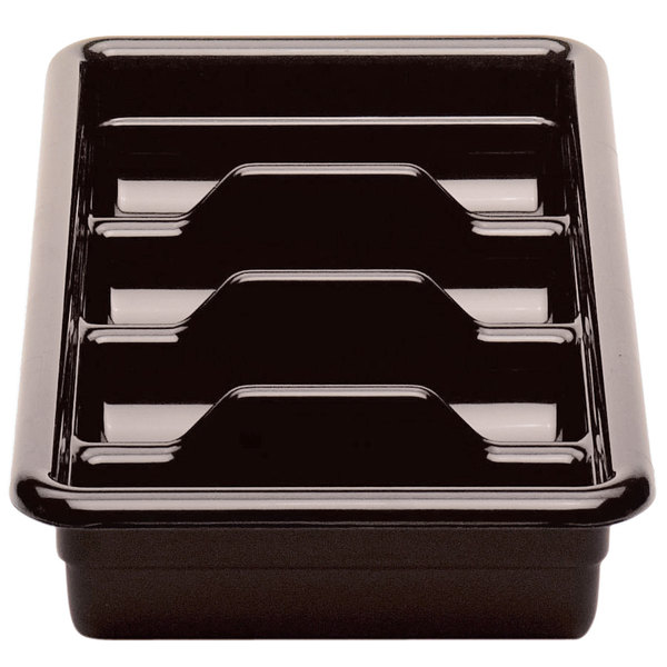 "Cambro 1120CBR131 Dark Brown Plastic Regal Cutlery Box 11"" x 20"""