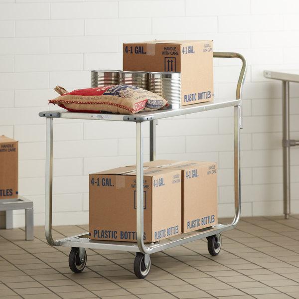 "Winholt WX-1000KA/B-WM Two Shelf Stocking Cart with Bumpers and Handle - 41"" x 20"" Main Image 3"