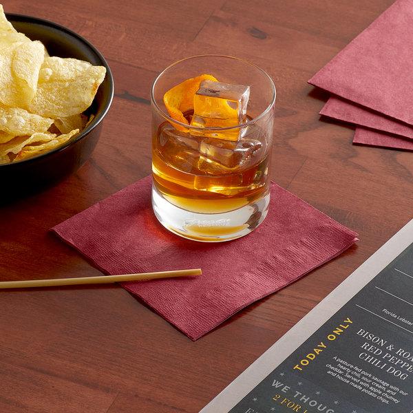 "Choice 10"" x 10"" Customizable Burgundy 2-Ply Beverage / Cocktail Napkin - 1000/Case Main Image 3"