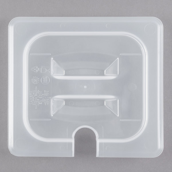 Cambro 60PPCHN190 1/6 Size Translucent Polypropylene Handled Lid with Spoon Notch Main Image 1