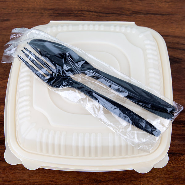 Visions Wrapped Black Heavy Weight Plastic Cutlery Pack with Knife, Fork, and Spoon - 500/Case Main Image 3