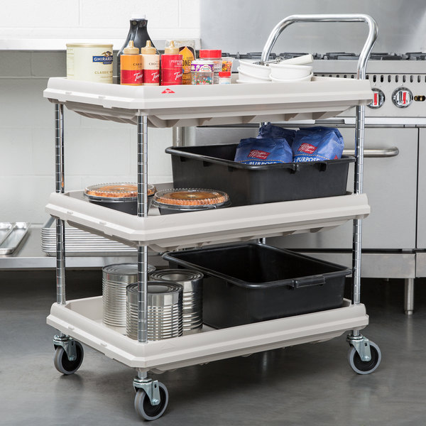 2 Shelves Metro Deep Ledge Series Polymer Utility Cart with 4 Swivel Casters Gray Total Capacity 41 Height x 21-1//2 Width x 32-3//4 Length 400 lb