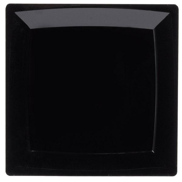WNA Comet MS75BK 6 3/4 inch Black Square Milan Plastic Salad Plate - 168/Case
