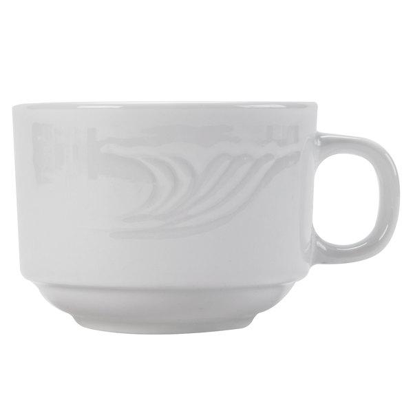 CAC RSV-1-S Roosevelt 8 oz. Super White Stackable Porcelain Mug - 36/Case
