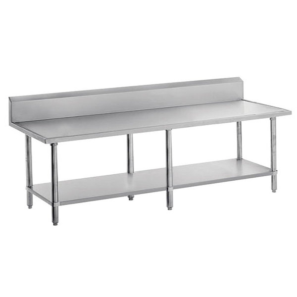 "Advance Tabco VKS-3610 Spec Line 36"" x 120"" 14 Gauge Work Table with Stainless Steel Undershelf and 10"" Backsplash"