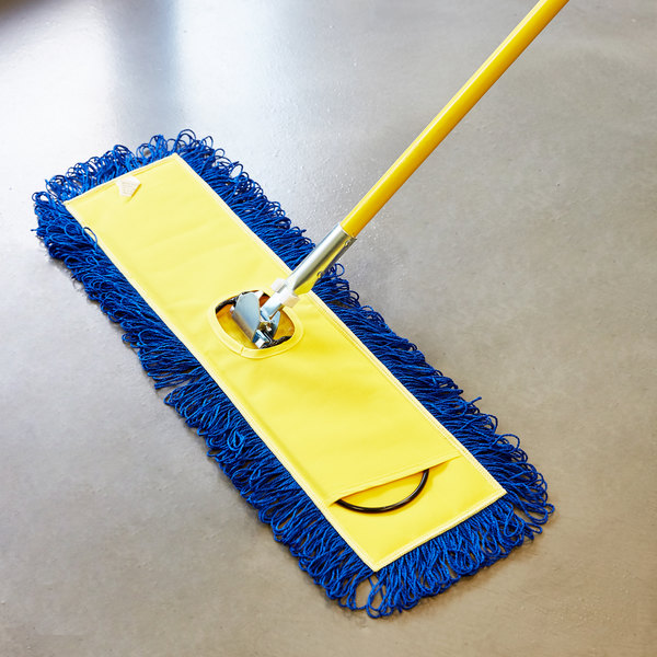 "Knuckle Buster MFDM24YL 24"" Yellow Microfiber Dry Pocket Dust Mop with Canvas Back"