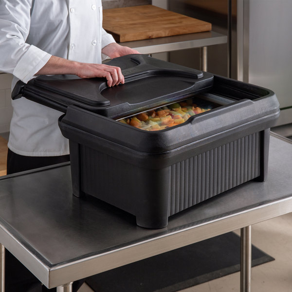 "Carlisle XT160003 Cateraide™ Slide 'N Seal™ Black Top Loading 6"" Deep Insulated Food Pan Carrier with Sliding Lid Main Image 4"