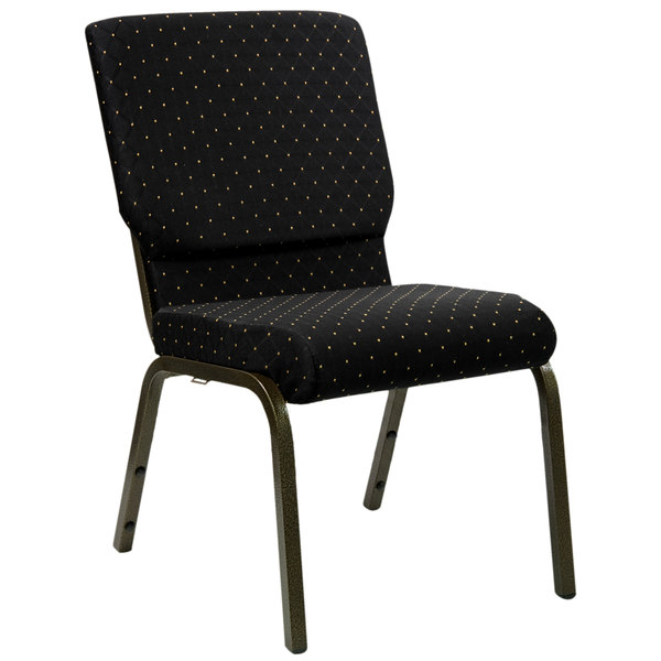"""Flash Furniture XU-CH-60096-BK-GG Black Dot Patterned 18 1/2"""" Wide Church Chair with Gold Vein Frame"""