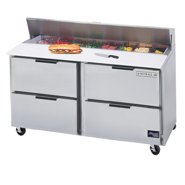 "Beverage Air SPED60HC-12-4 60"" 4 Drawer Refrigerated Sandwich Prep Table"